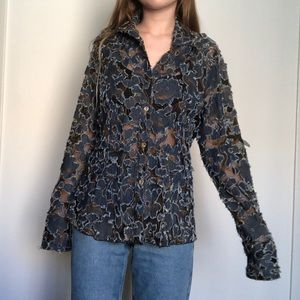 Vintage Mesh Denim Floral Button Up
